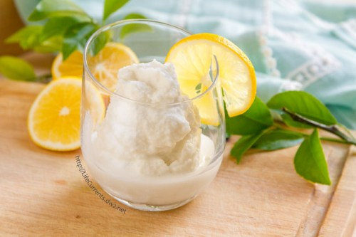 Coconut Lemon Slushie -- a refreshing creamy frozen coconut lemonade treat that'll help cool you off in the summer, and it's nice and healthy too! by Life Currents https://lifecurrentsblog.com