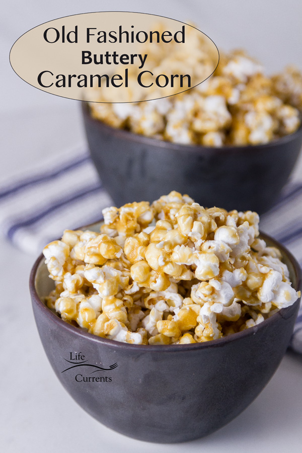 two bowls of caramel corn with the title on the image
