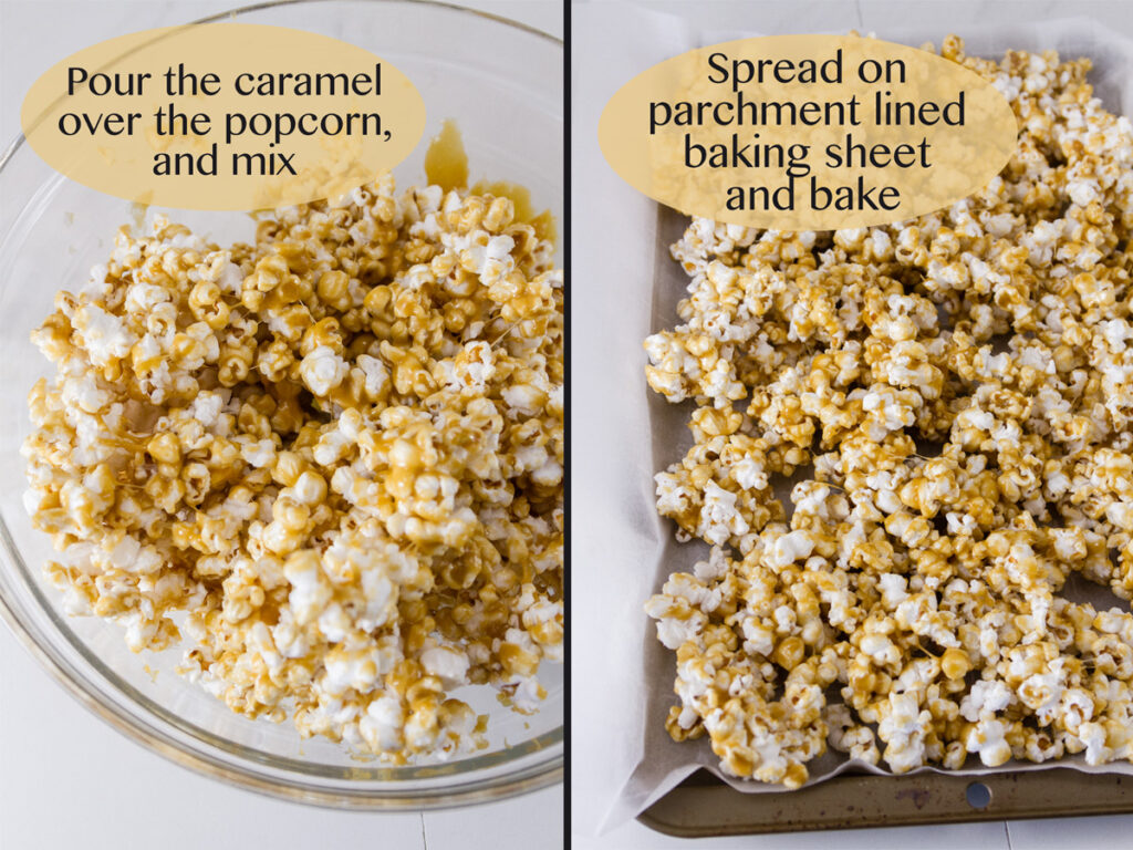 mixing the caramel into the popped corn