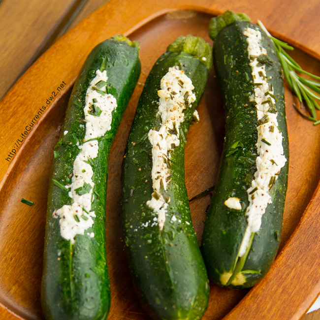 Grilled Stuffed Zucchini - Stuffed Zucchini grilled to veggie perfection!