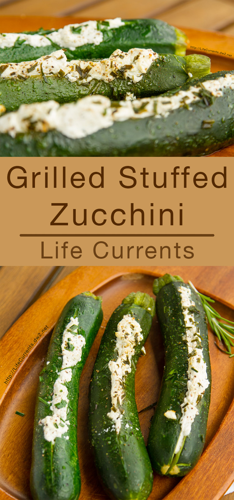Grilled Stuffed Zucchini - long pin for pinterest with two images of zucchini stuffed with goat cheese and herbs on a wooden serving platter