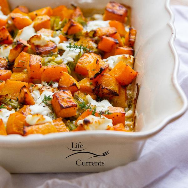 Butternut Squash Gratin Casserole square crop in casserole dish