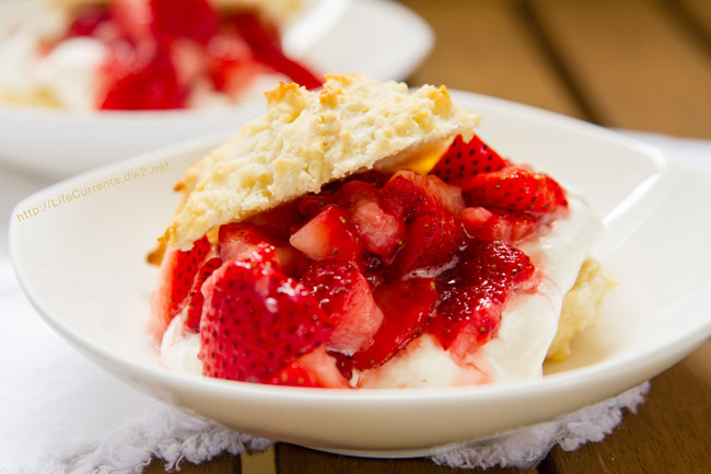 Mom's Strawberry Shortcake is perfect for summer with fresh berries topping Soft billowy layers of sweetened whipped cream and warm buttermilk biscuits