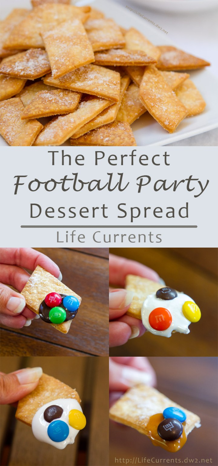 Football Party Dessert Spread including Pie Crust Cookies with M&M'S® Brand Milk / Peanut Chocolate Candies Game Day Mix - this is the perfect easy way to entertain during football season. @mmschocolate #ad #sponsored