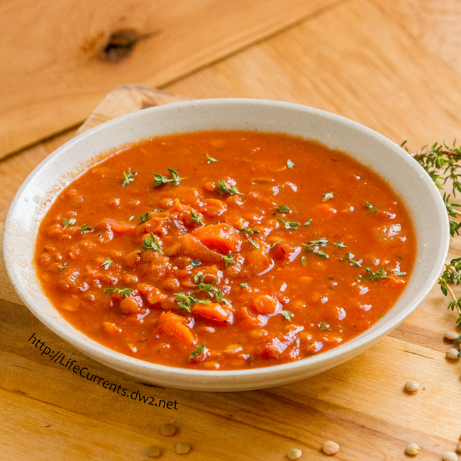 Tomato Lentil Soup - This soup is filled with flavor! From the earthy lentils to the rich flavorful tomatoes, throw in some spices and herbs, and you have yourself a wonderful bowl of hearty good for you Tomato Lentil Soup!