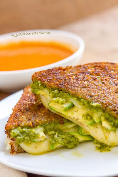 October is Tailgating Snacks Month 2016 - Three Cheese Pesto Avocado Grilled Cheese Sandwich