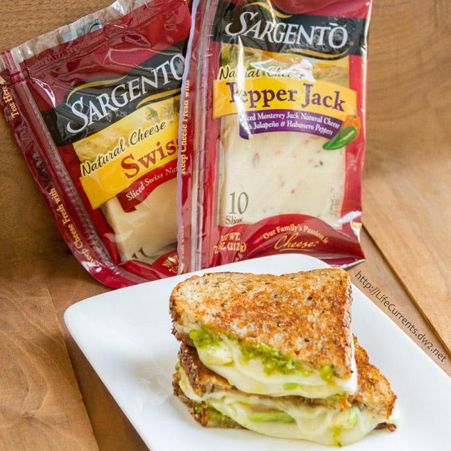 Three Cheese Pesto Avocado Grilled Cheese Sandwich