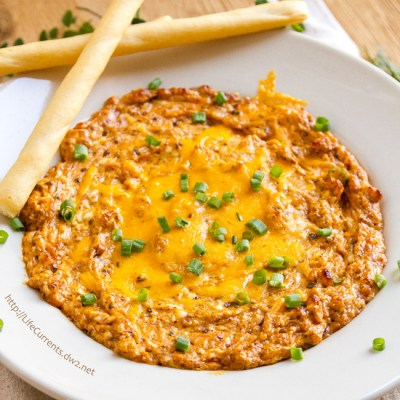 October is Tailgating Snacks Month 2016 - Roasted Chipotle & Garlic Baked Dip - cheesy and hot from the oven - this dip is so good. You are going to want to make this for your next party!