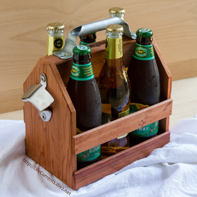 Beer and Pizza Night with a recipe for Easy Garlic and Herb Pizza - Wooden Beer Caddy