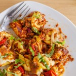 One Pot Pizza Tortellini Bake is the perfect weeknight dinner