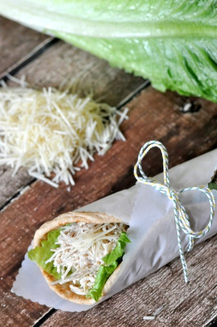 Easy Crock Pot (Slow Cooker) Meals - Easiest Crock Pot Chicken Caesar Pitas