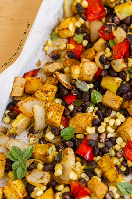 One Tray Southwestern Veggie Bake is super easy to make and is a great veggie filled dinner.