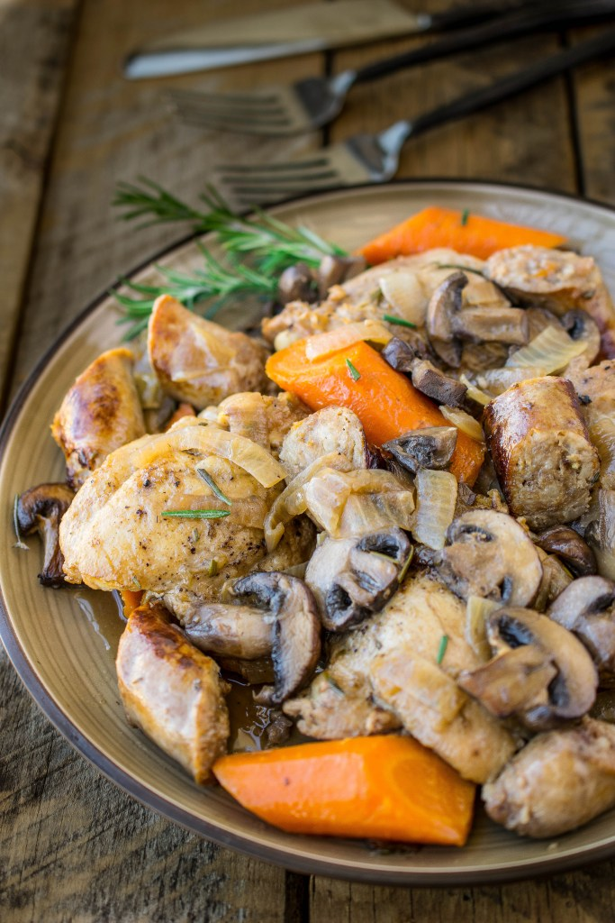Easy Crock Pot (Slow Cooker) Meals - Slow cooker rosemary chicken, sausage & mushrooms