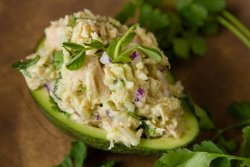 Guacamole & Tuna Stuffed Avocados with Island Trollers Albacore Tuna