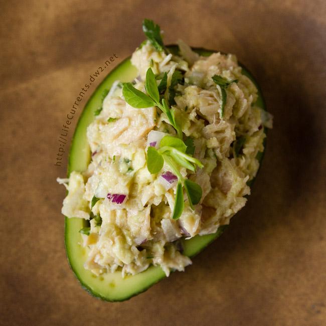 Guacamole and Tuna Stuffed Avocado with Island Trollers Albacore Tuna recipe