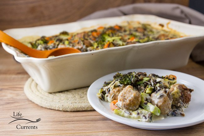 Broccoli Wild Rice Casserole recipe - Creamy sauce, nutty wild rice, earthy broccoli, Hearty meatballs - Oh this casserole is so yummy! Your family will love it!