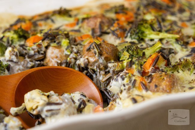 Cream of Mushroom Casserole featured recipe Broccoli Wild Rice Casserole Meatless, Vegetarian, casserole, oven baked,