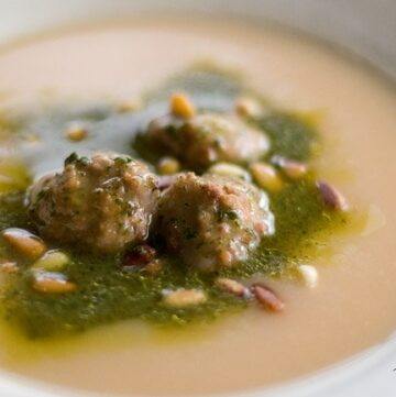 Slow Cooker Pesto Potato Soup with Meatballs recipe