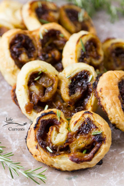 Blue Cheese, Fig, and Caramelized Onion Palmiers - perfect for a special party appetizer, a family holiday celebration, or just snacking on