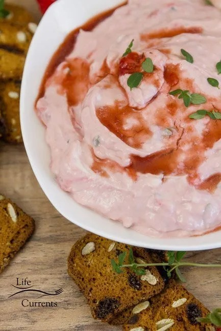Strawberry Balsamic Goat Cheese Spread recipe light summer appetizer
