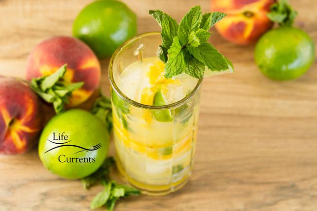 Peach Mojito - refreshing summer fresh peaches, mint and rum beverage