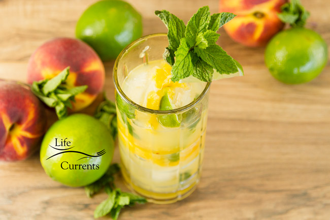 Peach Mojito - refreshing summer fresh peaches, mint and rum beverage