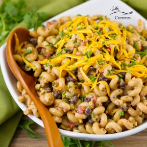 Loaded Southwestern BBQ Pasta Salad -- an easy make ahead pasta salad that's loaded with flavor, veggies, and fun! Your whole family will love it!