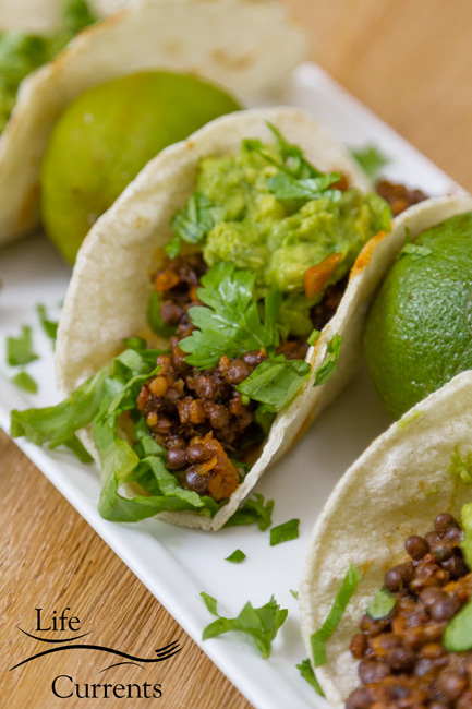 Easy Lentil Tacos with Smashed Avocado are so good. The filling comes together in about 5 minutes, and is loaded with flavor. They're super healthy, loaded with good for you protein, fiber, and veggies! These vegan, gluten free tacos will be a family favorite for taco Tuesday, or any day!