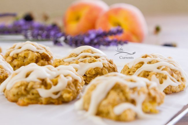 Peach Cobbler Cookies with Vanilla Icing Drizzle