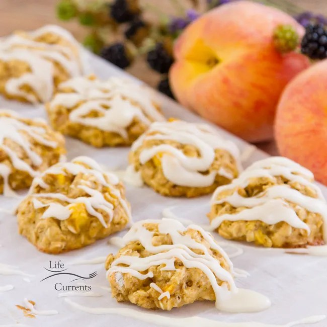 Peach Cobbler Cookies with Vanilla Icing Drizzle - Soft peachy cookies filled with oatmeal goodness and drizzled with a light sweet vanilla icing. So good as a nice summer dessert or as a breakfast snack!