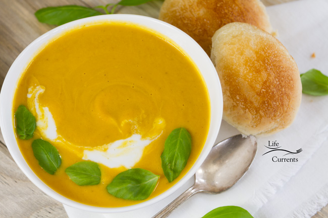 Pumpkin Coconut Soup with a freshly baked warm dinner roll from Rhodes