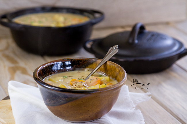 Mom's Vegetarian Pot Pie Soup Recipe is perfect vegetarian comfort food that the whole family will love