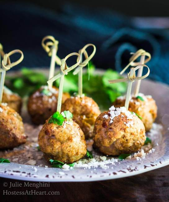 October is Tailgating Snacks Month 2017 - Baked Turkey Meatballs with Green Chiles Recipe