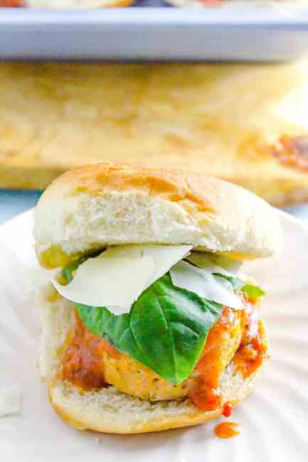 October is Tailgating Snacks Month 2017 - Low Sugar Chicken Meatball Parmesan Sliders