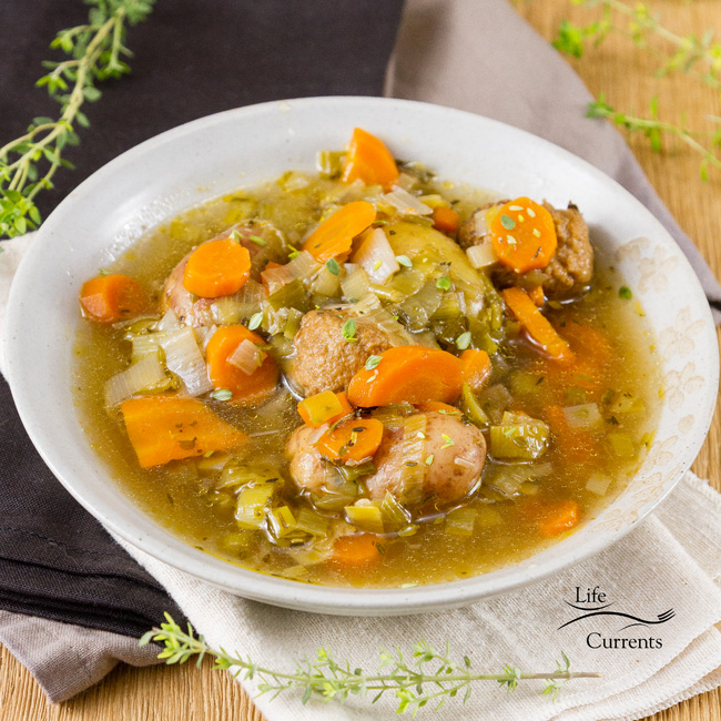 Slow Cooker Meatball and Potato Soup I love this herby brothy veggie filled soup.