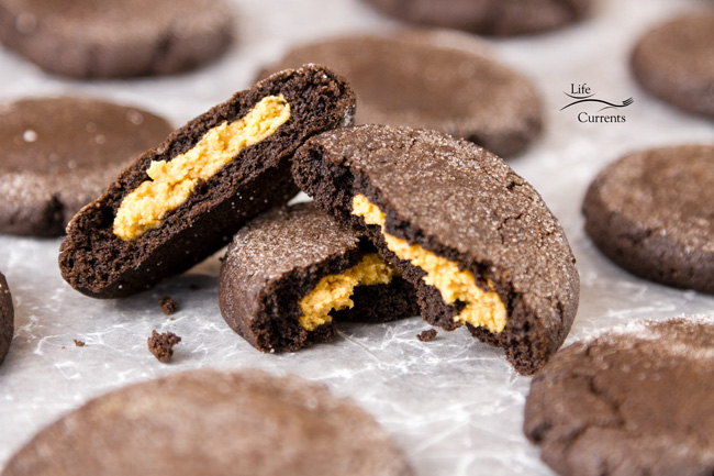 Peanut Butter Stuffed Chocolate Cookies Sweet creamy peanut butter surrounded by a soft chocolate cookie. There's a little surprise to them that's really fun!
