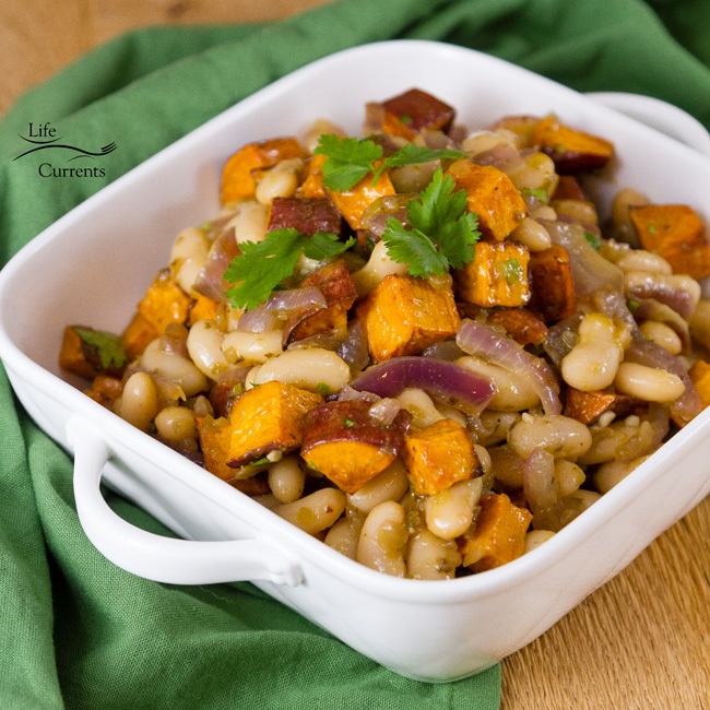 White Bean & Sweet Potato Taco Filling in a serving bowl