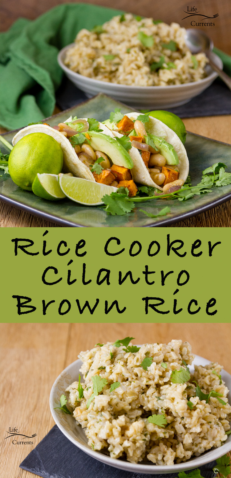 Rice Cooker Cilantro Brown Rice - delicious and easy for Meatless Monday