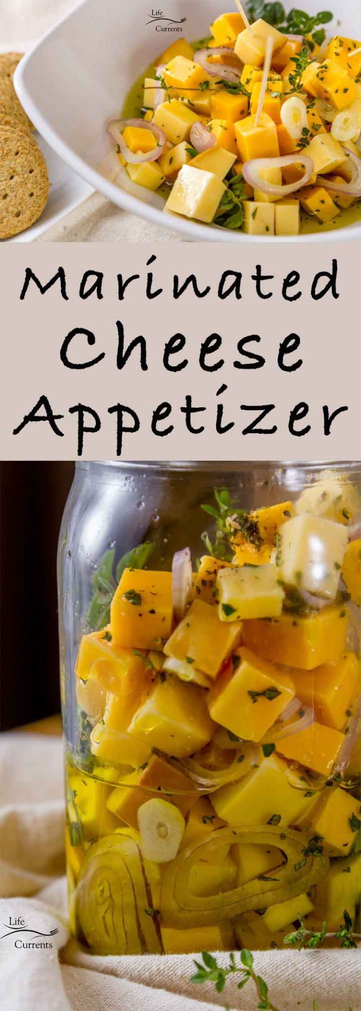 Marinated Cheese and Herbs Appetizer long pin for Pinterest with 2 images in a bowl and in a jar