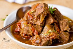 Crock Pot Braised Beef with Balsamic Tomatoes - easy to make in the slow cooker