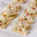This Creamy Chicken Pimento Spread is a creamy delicious topping for crackers, perfect for all your parties! #appetizer #dip #party #biggame