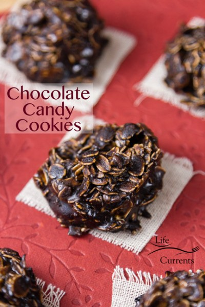 Lemon Fudge {just be nice} featured recipe No Bake Chocolate Candy Cookies oatmeal and chocolate candy mixed together to form a cookie placed on white cloths on a red Valentine's Day background