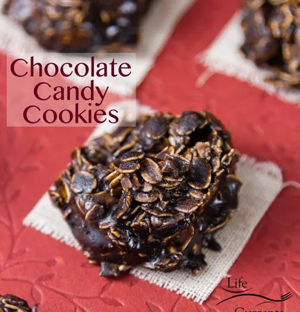 No Bake Chocolate Candy Cookies oatmeal and chocolate candy mixed together to form a cookie placed on white cloths on a red Valentine's Day background