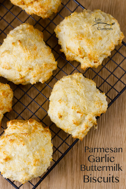 Roasted Garlic Mushroom Soup featured recipe for Parmesan Garlic Buttermilk Biscuits from Scratch - top down view with text explainin gthe recipe