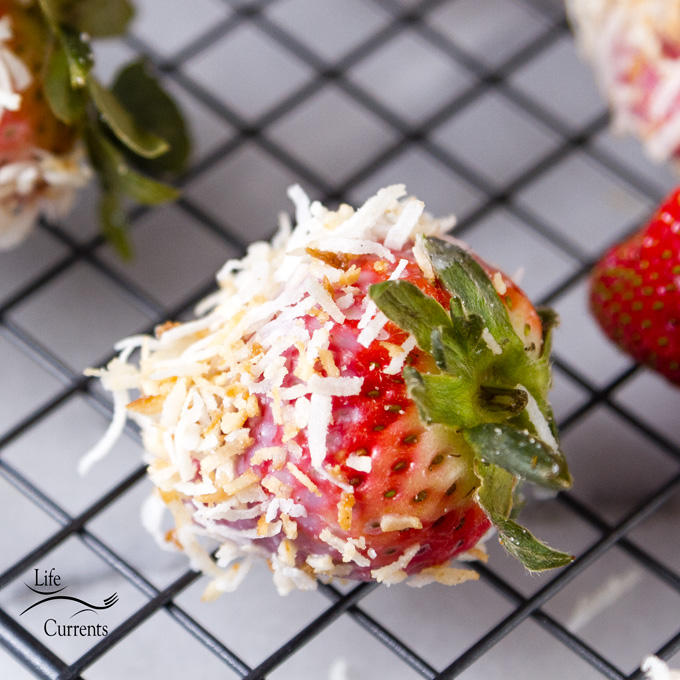 Coconut Dipped Strawberries - sweet tart fresh berries dipped in coconut are sure to please your family