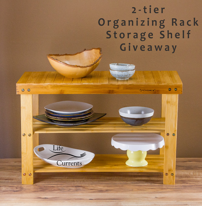 2-tier Organizing Rack Storage Shelf Giveaway - shown for organizing plates and dishes