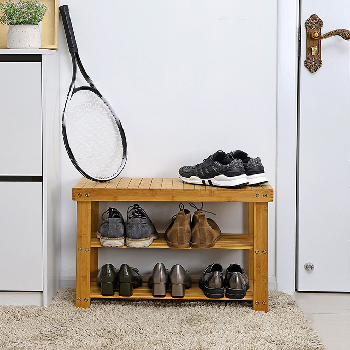 2-tier Shoe Bench Organizing Rack Entryway Storage Shelf Freshen up your space