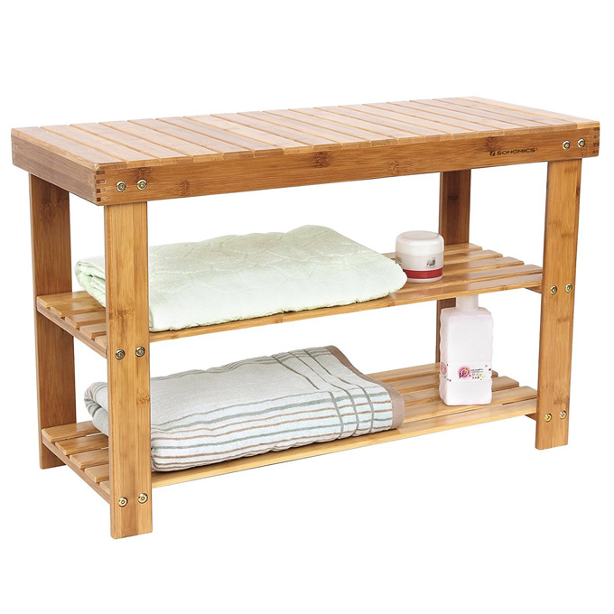 2-tier Shoe Bench Organizing Rack Entryway Storage Shelf used as bathroom storage