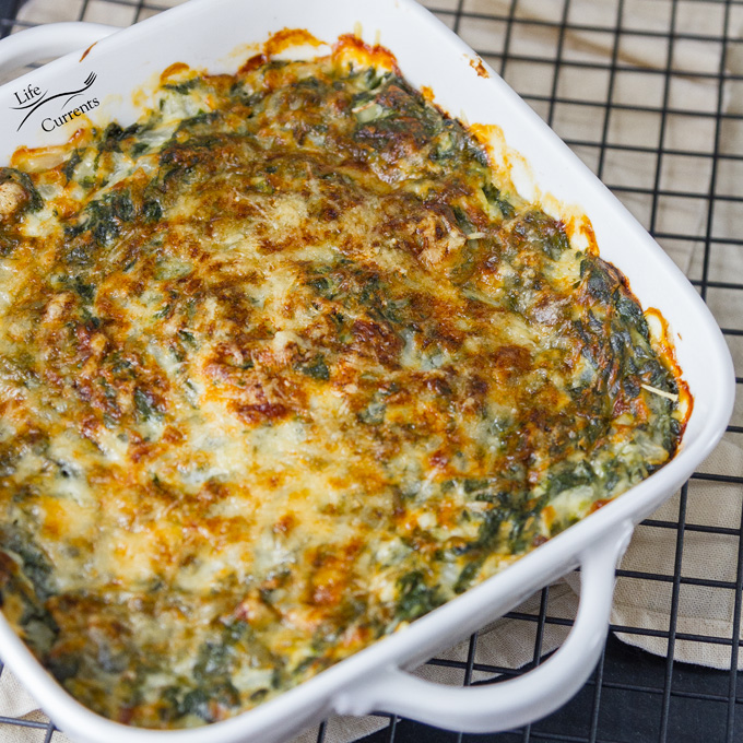 . This Cheesy Creamed Spinach Gratin Casserole is perfect for holiday meals, or even for a nice Sunday family dinner. Casserole cooling until ready to be served