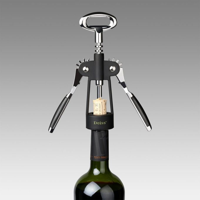 Corkscrew Wine Opener and Wine Foil Cutter Giveaway - Opener bottle products gift gifts Stainless steel free giveaway time announcement winner cork open a bottle of wine without breaking the cork opening grip hands Sturdy